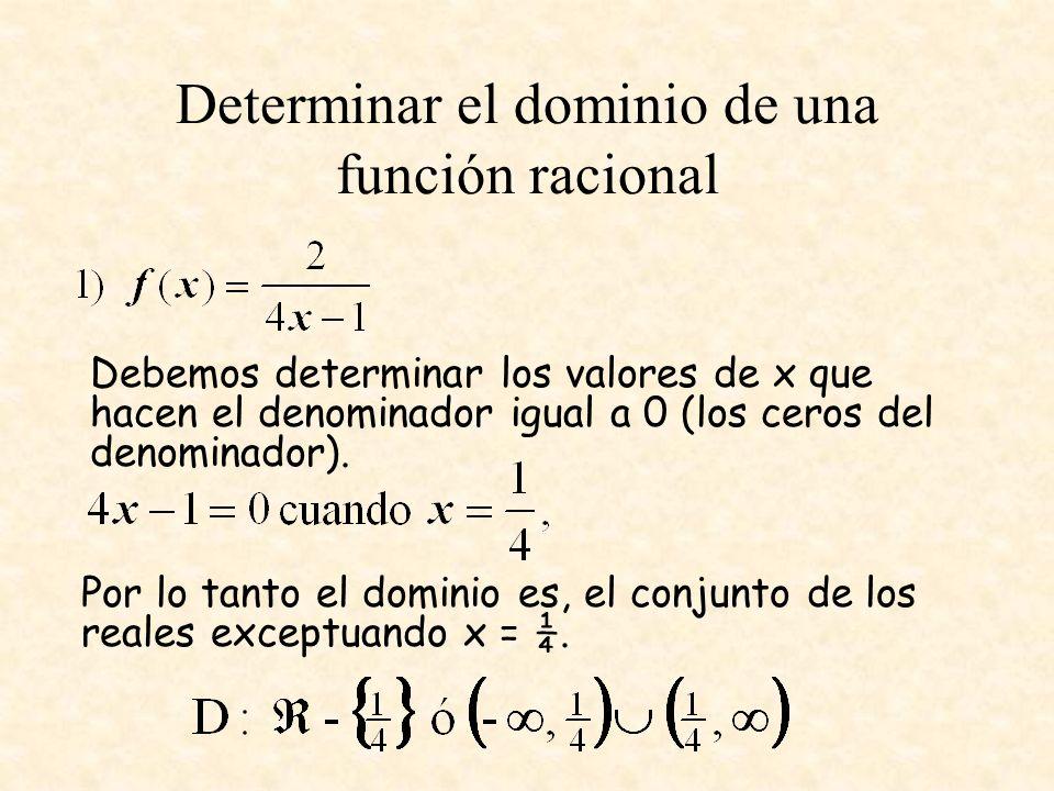 Determinar el dominio de una función racional Debemos determinar los valores de x que hacen el denominador igual a 0 (los ceros del denominador). Por