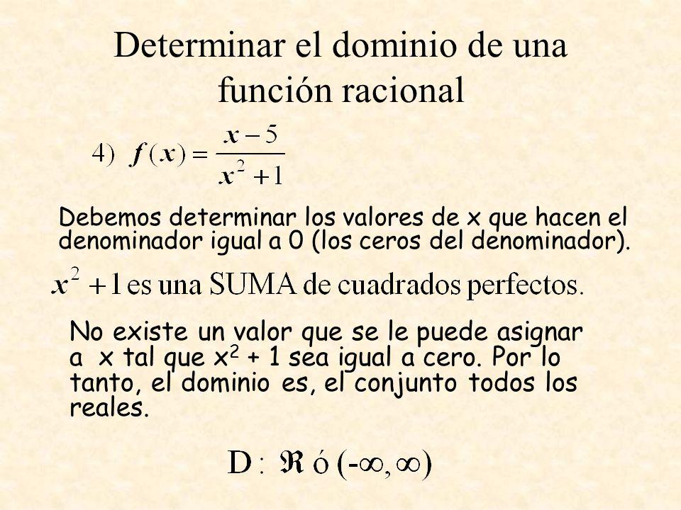 Determinar el dominio de una función racional Debemos determinar los valores de x que hacen el denominador igual a 0 (los ceros del denominador). No e