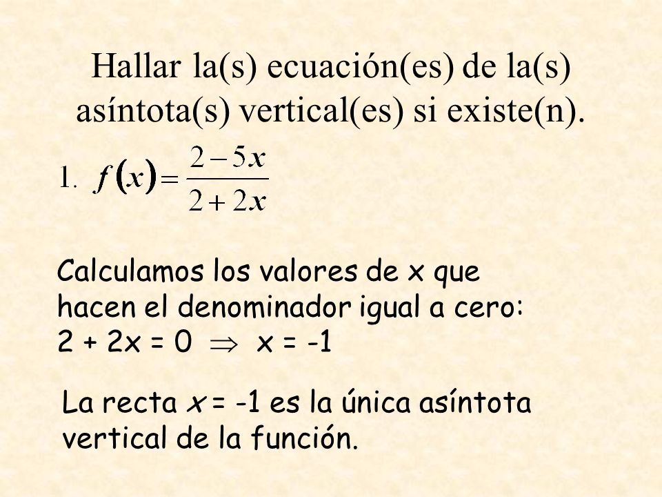 Hallar la(s) ecuación(es) de la(s) asíntota(s) vertical(es) si existe(n). Calculamos los valores de x que hacen el denominador igual a cero: 2 + 2x =