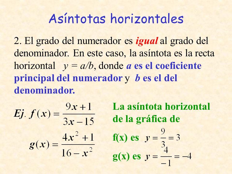 Asíntotas horizontales 2. El grado del numerador es igual al grado del denominador. En este caso, la asíntota es la recta horizontal y = a/b, donde a