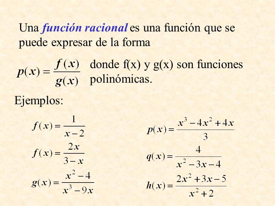 Una función racional es una función que se puede expresar de la forma donde f(x) y g(x) son funciones polinómicas. Ejemplos:
