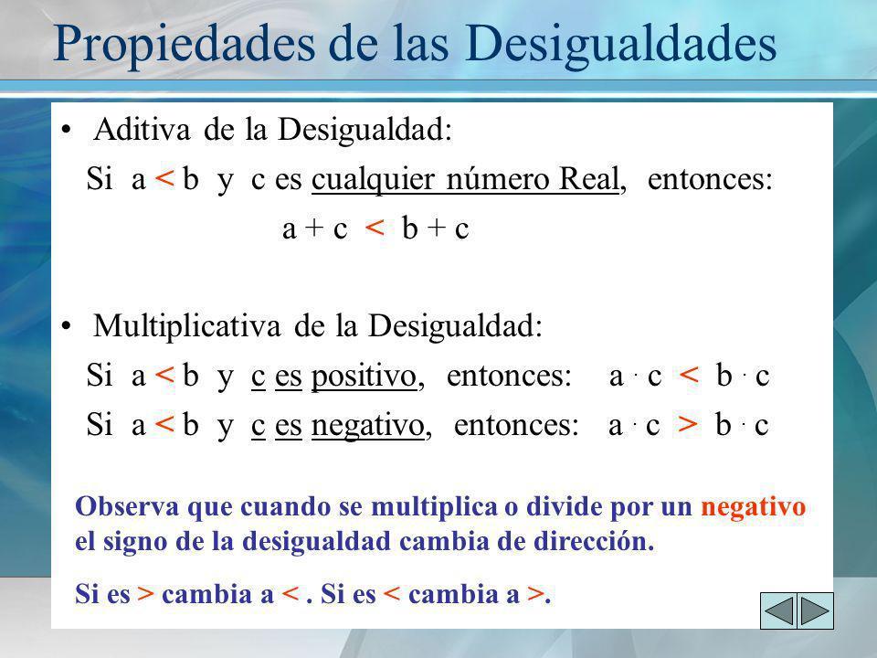 Aditiva de la Desigualdad: Si a < b y c es cualquier número Real, entonces: a + c < b + c Multiplicativa de la Desigualdad: Si a < b y c es positivo,