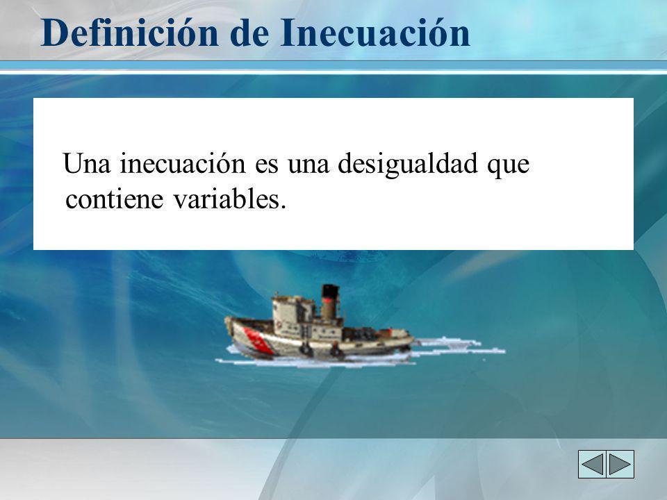 Definición de Inecuación Una inecuación es una desigualdad que contiene variables.