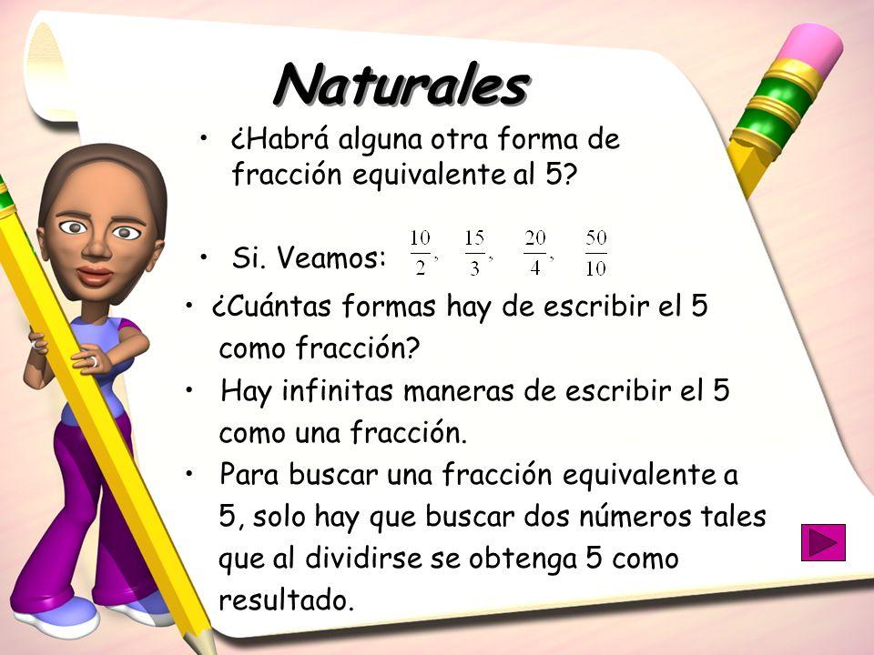 Naturales ¿Habrá alguna otra forma de fracción equivalente al 5? Si. Veamos: ¿Cuántas formas hay de escribir el 5 como fracción? Hay infinitas maneras