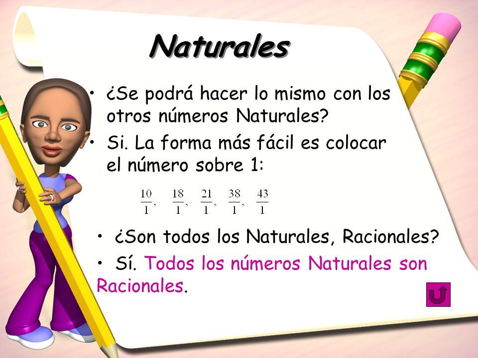 Naturales ¿Se podrá hacer lo mismo con los otros números Naturales? Si. La forma más fácil es colocar el número sobre 1: ¿Son todos los Naturales, Rac