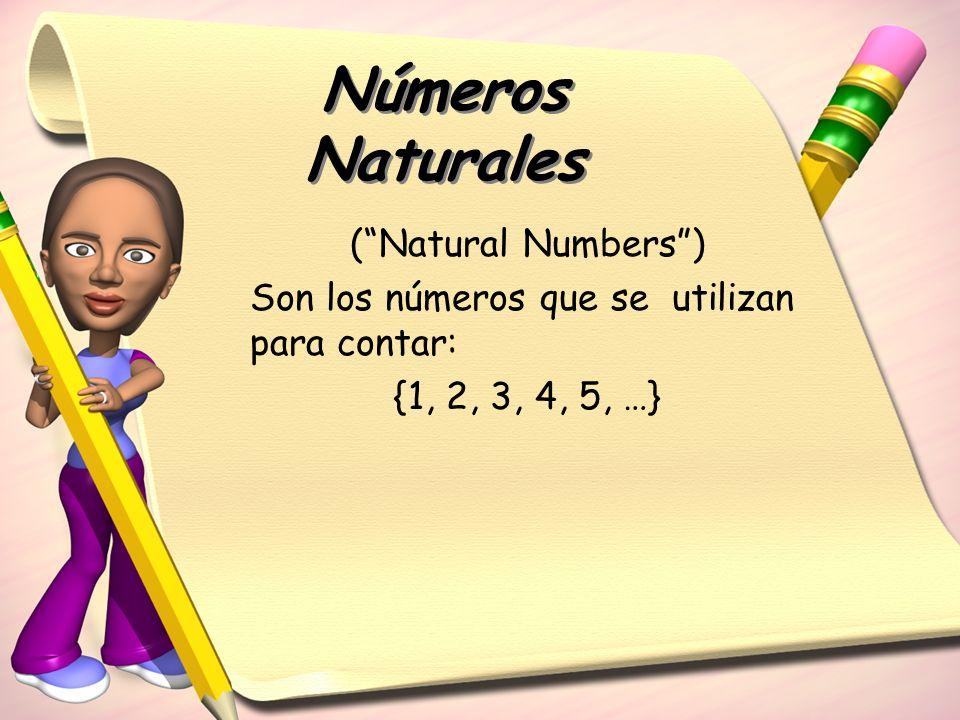 Números Naturales (Natural Numbers) Son los números que se utilizan para contar: {1, 2, 3, 4, 5, …}
