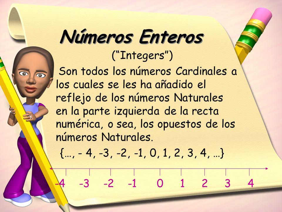 (Integers) Son todos los números Cardinales a los cuales se les ha añadido el reflejo de los números Naturales en la parte izquierda de la recta numér