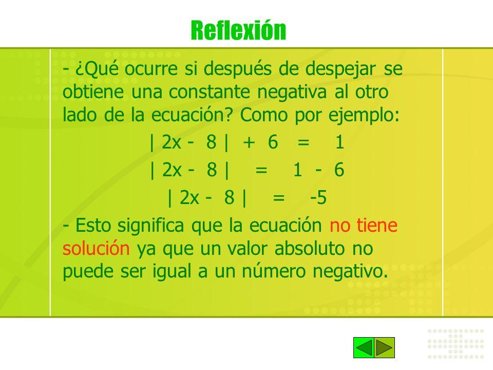 Reflexión - ¿Qué ocurre si después de despejar se obtiene una constante negativa al otro lado de la ecuación? Como por ejemplo: | 2x - 8 | + 6 = 1 | 2