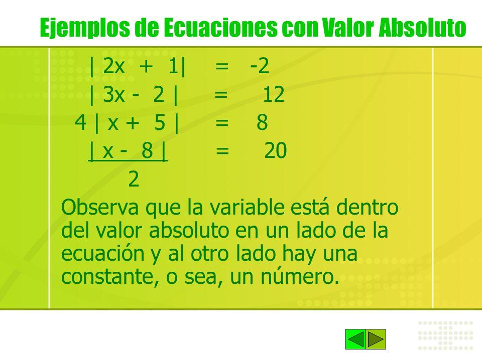 | 2x + 1| = -2 | 3x - 2 | = 12 4 | x + 5 | = 8 | x - 8 | = 20 2 Observa que la variable está dentro del valor absoluto en un lado de la ecuación y al