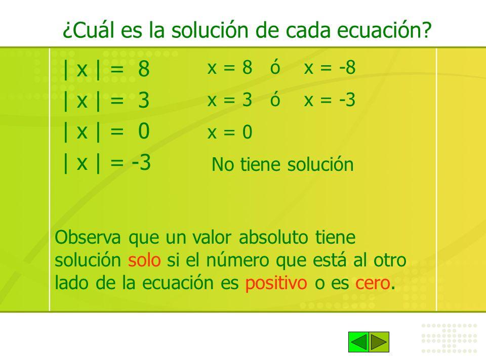¿Cuál es la solución de cada ecuación? | x | = 8 | x | = 3 | x | = 0 | x | = -3 x = 8 ó x = -8 x = 3 ó x = -3 x = 0 No tiene solución Observa que un v