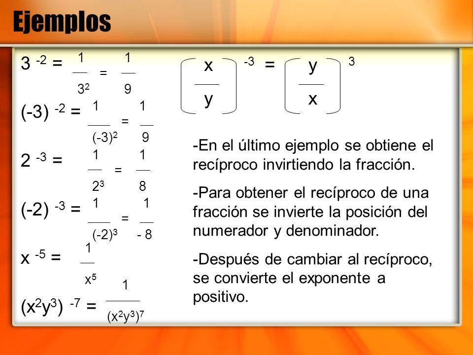 Ejemplos 3 -2 = (-3) -2 = 2 -3 = (-2) -3 = x -5 = (x 2 y 3 ) -7 = 1 = 3 2 9 1 = (-3) 2 9 1 = 2 3 8 1 = (-2) 3 - 8 1 x51 x5 1 (x 2 y 3 ) 7 x -3 = y y 3
