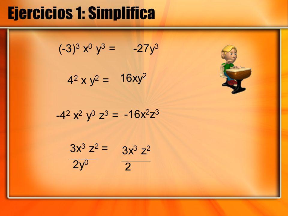 Ejercicios 1: Simplifica (-3) 3 x 0 y 3 = -4 2 x 2 y 0 z 3 = 4 2 x y 2 = 3x 3 z 2 = 2y 0 -27y 3 16xy 2 -16x 2 z 3 3x 3 z 2 2