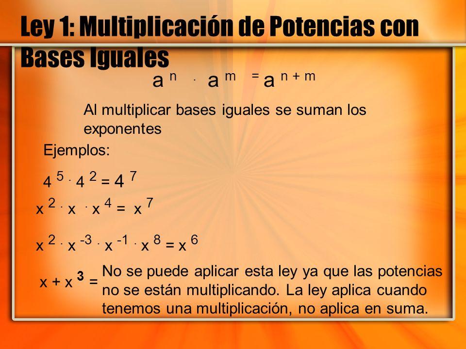 Ley 1: Multiplicación de Potencias con Bases Iguales a n. a m = a n + m Ejemplos: 4 5. 4 2 = 4 7 x 2. x -3. x -1. x 8 = x 6 x 2. x. x 4 = x 7 x + x 3
