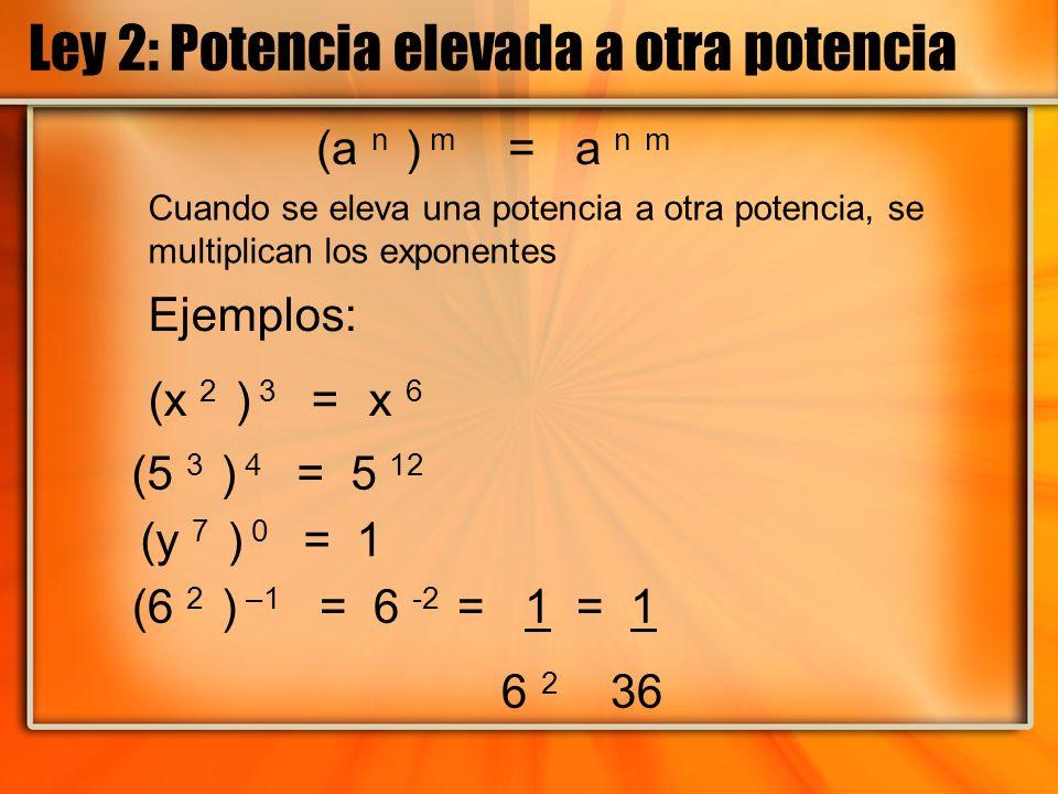 Ley 2: Potencia elevada a otra potencia (a n ) m = a n m Ejemplos: (x 2 ) 3 = x 6 (5 3 ) 4 = 5 12 (6 2 ) –1 = 6 -2 = 1 = 1 6 2 36 (y 7 ) 0 = 1 Cuando
