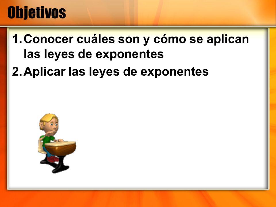 Objetivos 1.Conocer cuáles son y cómo se aplican las leyes de exponentes 2.Aplicar las leyes de exponentes