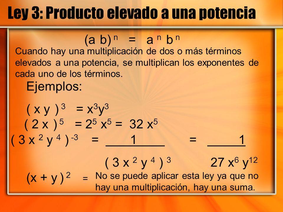 Ley 3: Producto elevado a una potencia (a b) n = a n b n Ejemplos: ( x y ) 3 = x 3 y 3 ( 2 x ) 5 = 2 5 x 5 = 32 x 5 ( 3 x 2 y 4 ) -3 = 1 = 1 ( 3 x 2 y