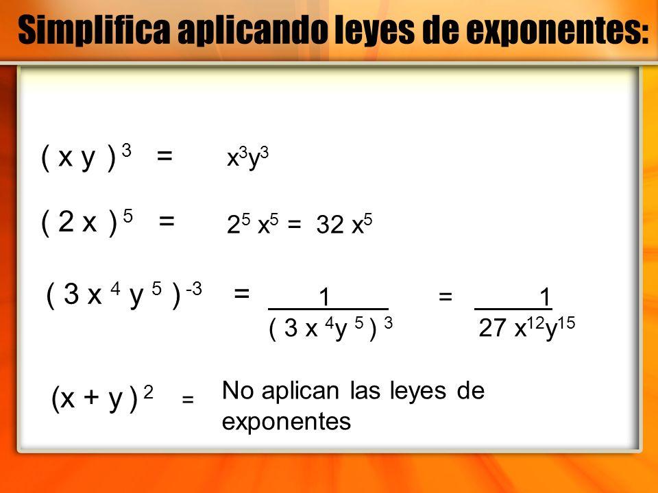 ( x y ) 3 = ( 2 x ) 5 = ( 3 x 4 y 5 ) -3 = (x + y ) 2 = x3y3x3y3 2 5 x 5 = 32 x 5 1 = 1 ( 3 x 4 y 5 ) 3 27 x 12 y 15 No aplican las leyes de exponente