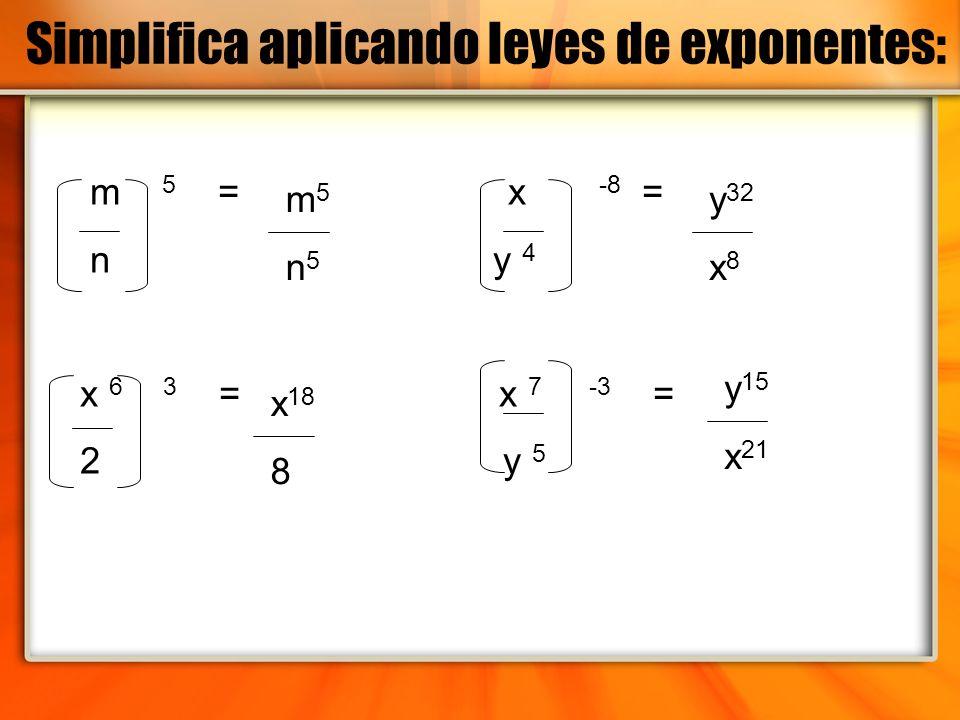 m 5 = x -8 = n y 4 x 6 3 = x 7 -3 = 2 y 5 m5n5m5n5 x 18 8 y 32 x 8 y 15 x 21 Simplifica aplicando leyes de exponentes: