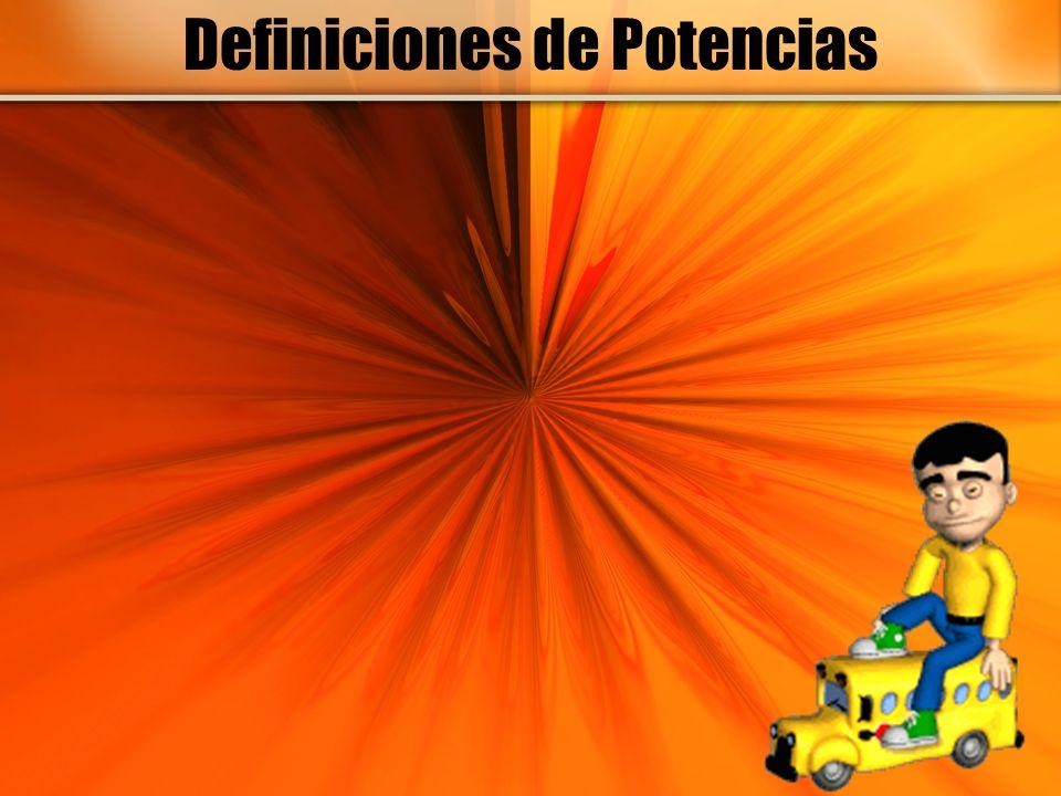 Definición de una Potencia a n = a.a. a. ….