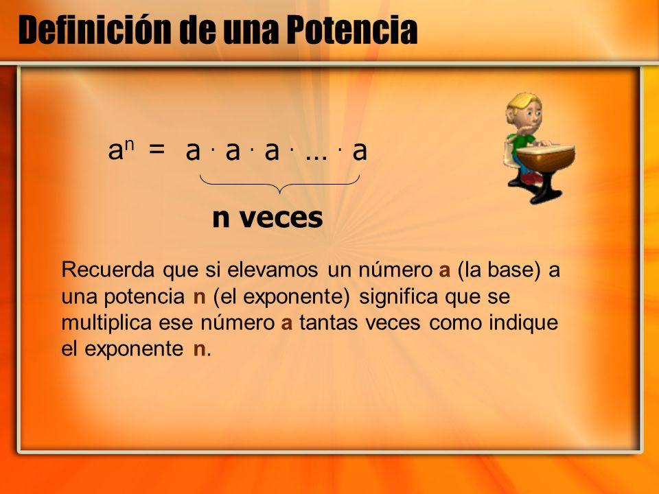 Definición de una Potencia a n = a. a. a. …. a n veces Recuerda que si elevamos un número a (la base) a una potencia n (el exponente) significa que se