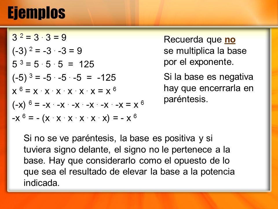 Ejemplos 3 2 = 3. 3 = 9 (-3) 2 = -3. -3 = 9 5 3 = 5. 5. 5 = 125 (-5) 3 = -5. -5. -5 = -125 x 6 = x. x. x. x. x. x = x 6 (-x) 6 = -x. -x. -x. -x. -x. -