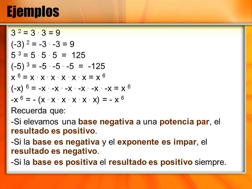 Definición de Potencia Cero a 0 = Cualquier base que se eleva a la potencia 0, el resultado es 1, o sea, equivale al número1.