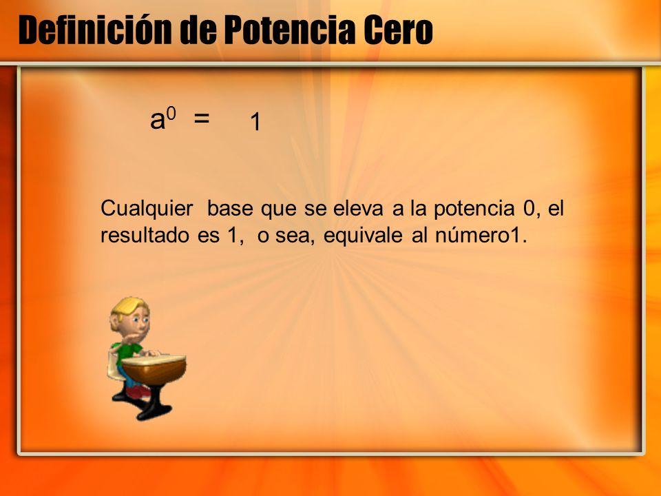 Definición de Potencia Cero a 0 = Cualquier base que se eleva a la potencia 0, el resultado es 1, o sea, equivale al número1. 1