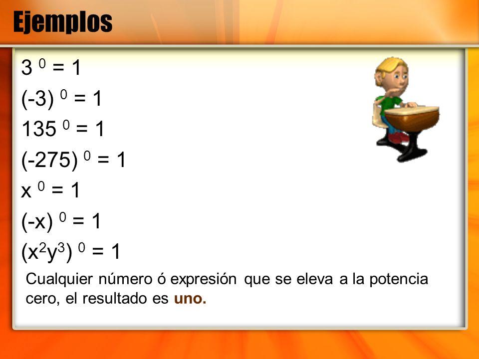 Ejemplos 3 0 = 1 (-3) 0 = 1 135 0 = 1 (-275) 0 = 1 x 0 = 1 (-x) 0 = 1 (x 2 y 3 ) 0 = 1 Cualquier número ó expresión que se eleva a la potencia cero, e