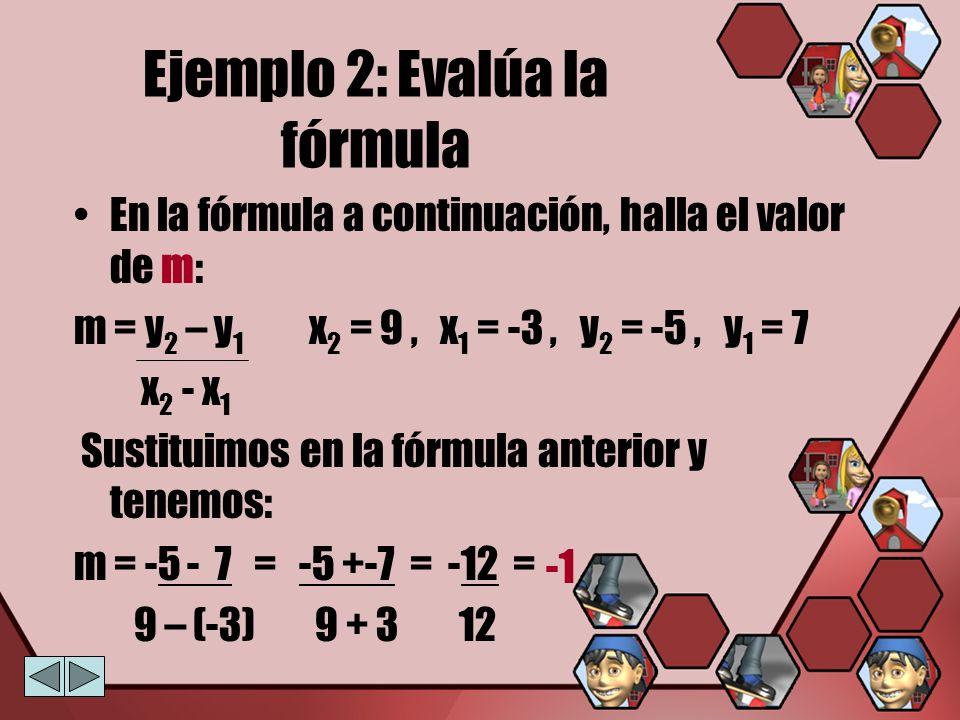 Ejemplo 2: Evalúa la fórmula En la fórmula a continuación, halla el valor de m: m = y 2 – y 1 x 2 = 9, x 1 = -3, y 2 = -5, y 1 = 7 x 2 - x 1 Sustituim