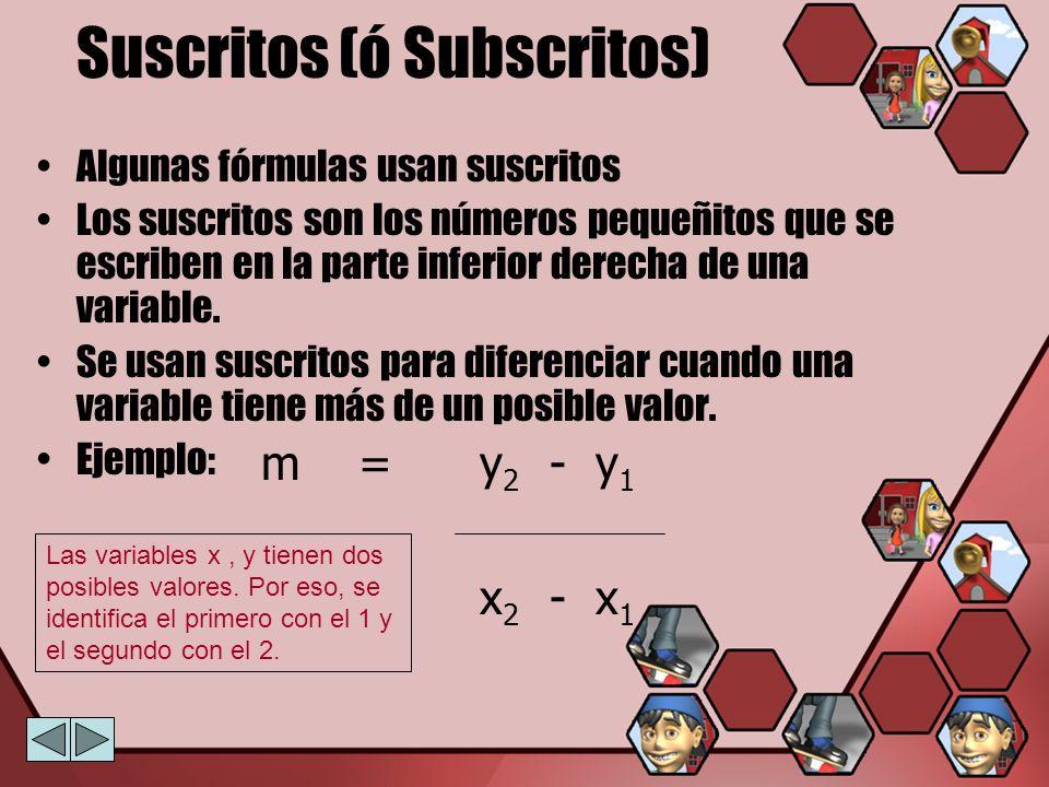 Suscritos (ó Subscritos) Algunas fórmulas usan suscritos Los suscritos son los números pequeñitos que se escriben en la parte inferior derecha de una
