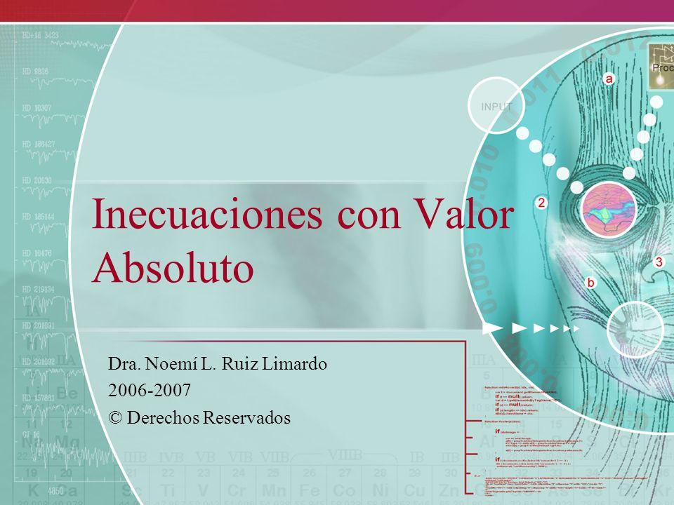 Inecuaciones con Valor Absoluto Dra. Noemí L. Ruiz Limardo 2006-2007 © Derechos Reservados