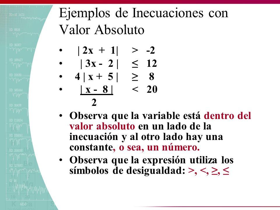 | 2x + 1| > -2 | 3x - 2 | 12 4 | x + 5 | 8 | x - 8 | < 20 2 Observa que la variable está dentro del valor absoluto en un lado de la inecuación y al ot
