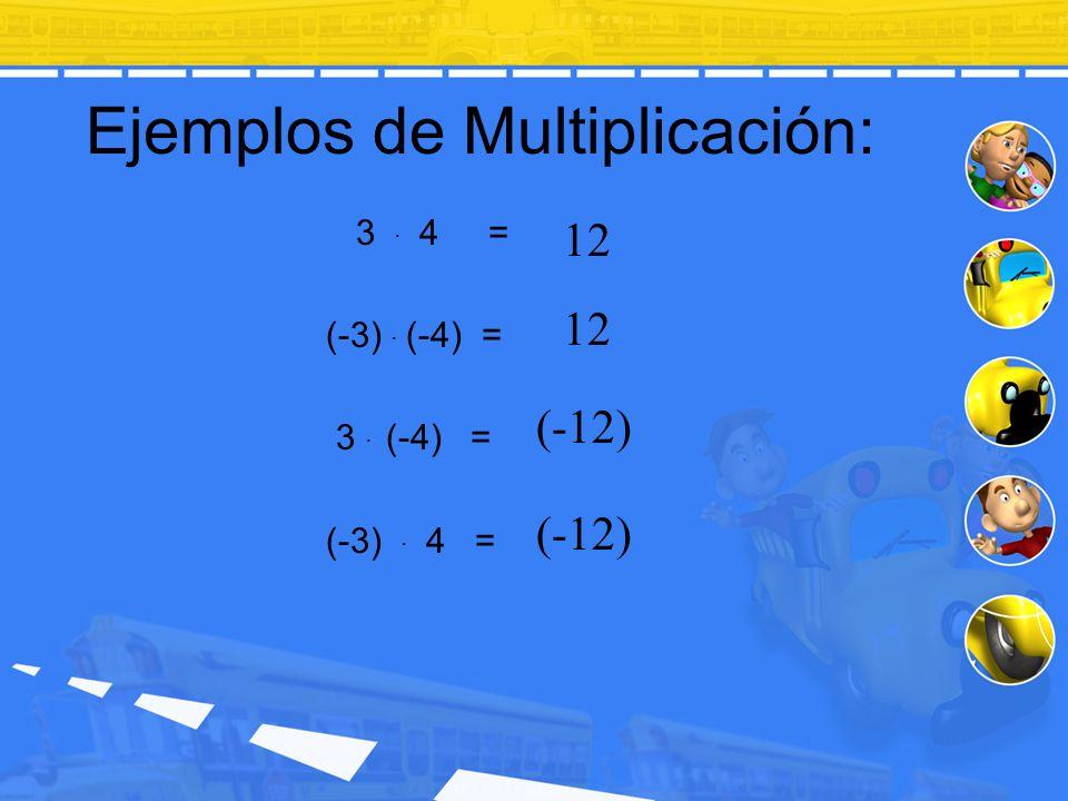 Ejemplos de Multiplicación: 3. 4 = (-3). (-4) = 3. (-4) = (-3). 4 = 12 (-12)