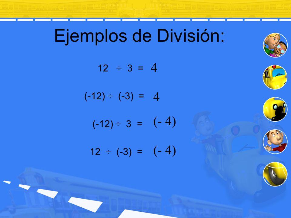 Ejemplos de División: 12 ÷ 3 = (-12) ÷ (-3) = (-12) ÷ 3 = 12 ÷ (-3) = 4 4 (- 4)