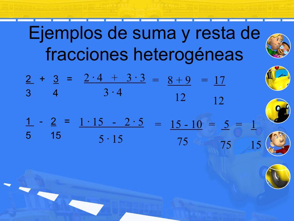 Ejemplos de suma y resta de fracciones heterogéneas 2 + 3 = 3 4 1 - 2 = 5 15 3. 4 12 2. 4 + 3. 3 = 8 + 9= 17 12 5. 15 1. 15 - 2. 5 = 15 - 10 75 = 5 75