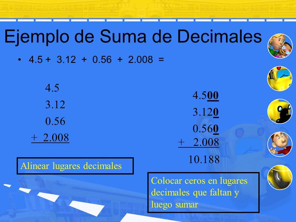 Ejemplo de Suma de Decimales 4.5 + 3.12 + 0.56 + 2.008 = 4.500 3.120 0.560 + 2.008 10.188 Alinear lugares decimales 4.5 3.12 0.56 + 2.008 Colocar cero