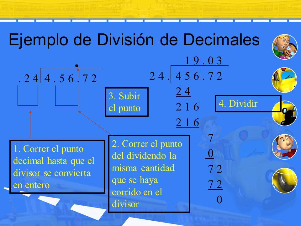 Ejemplo de División de Decimales 4. Dividir. 2 4 4. 5 6. 7 2 1 9. 0 3 2 4. 4 5 6. 7 2 2 4 2 1 6 7 0 7 2 0 3. Subir el punto 1. Correr el punto decimal