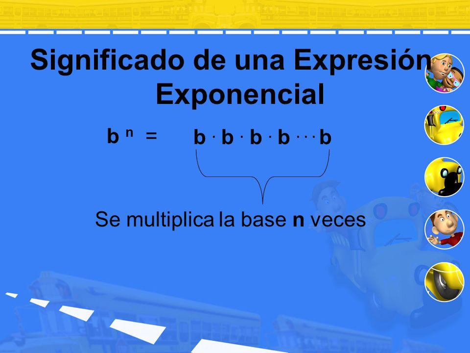b n = Significado de una Expresión Exponencial Se multiplica la base n veces b. b. b. b... b