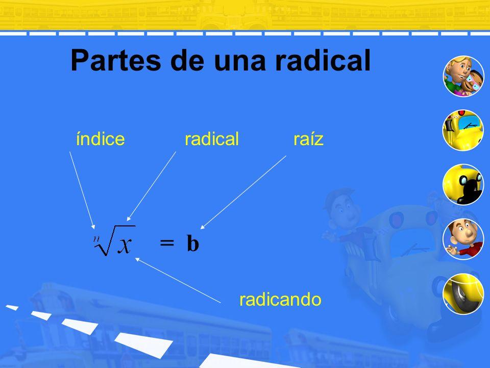 Partes de una radical índice radical raíz radicando = b