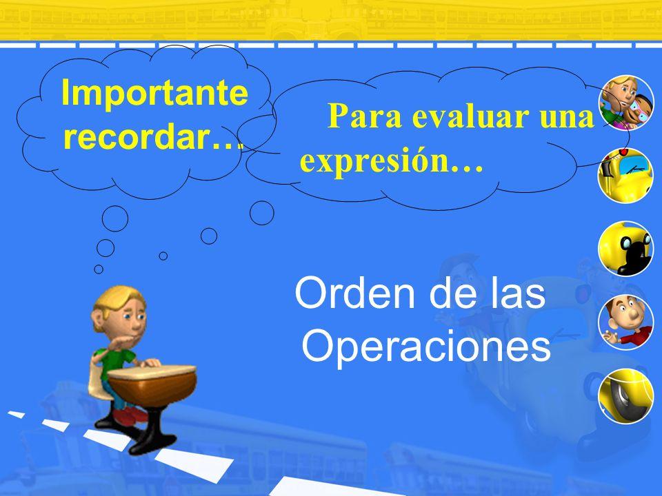 Importante recordar… Orden de las Operaciones Para evaluar una expresión…