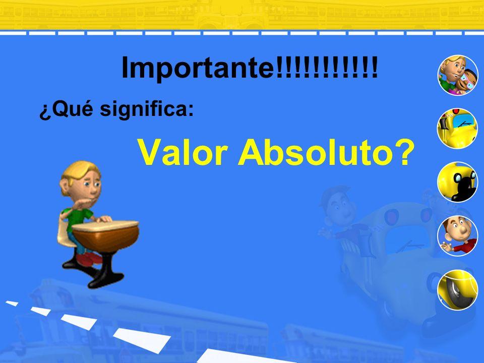 Ejemplos de Valor Absoluto: | 7 | = | -7 | = | 0 | = | -3.1 | = | 0.85 | = | ¼ | = | - ½ | = | 5 - 4 | = | -9 | - | -2 | = - | -9 | = 7 7 0 3.1 0.85 ¼ ½ | 1 | = 1 9 – 2 = 7 - 9