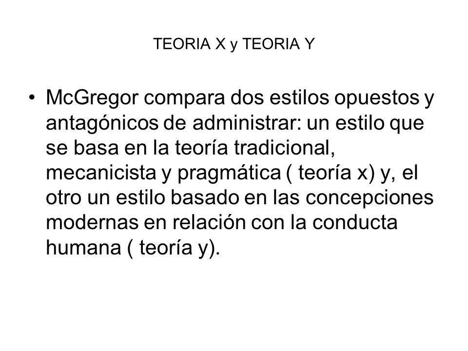 TEORIA X y TEORIA Y McGregor compara dos estilos opuestos y antagónicos de administrar: un estilo que se basa en la teoría tradicional, mecanicista y
