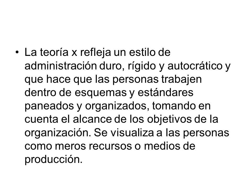 Para la teoría x, la administración se caracteriza por los siguientes aspectos.