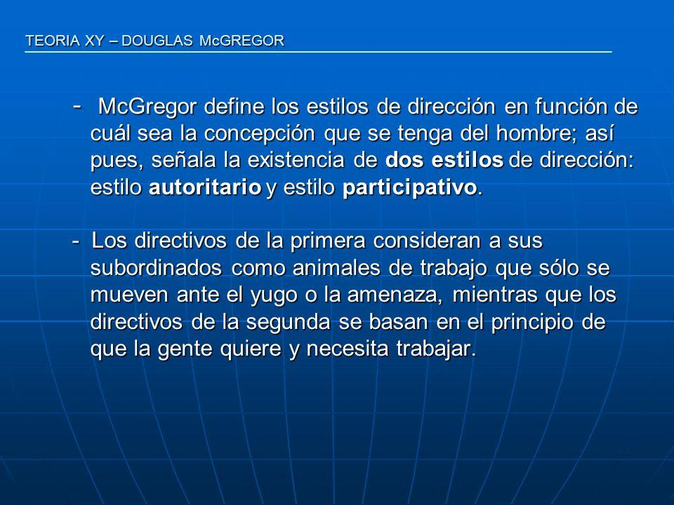 - McGregor define los estilos de dirección en función de cuál sea la concepción que se tenga del hombre; así cuál sea la concepción que se tenga del h