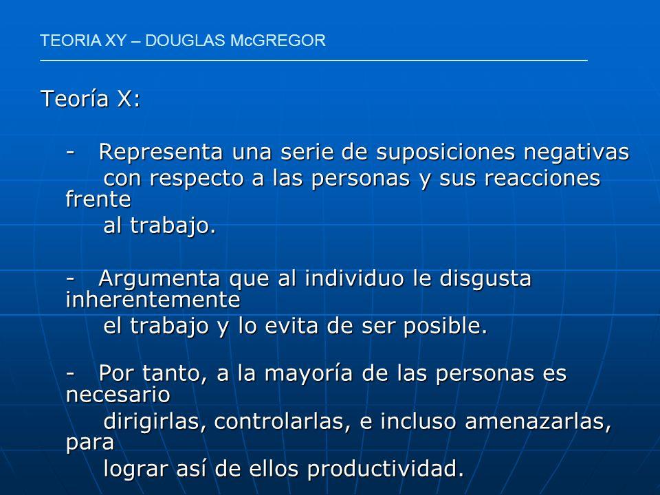 Teoría X: - Representa una serie de suposiciones negativas con respecto a las personas y sus reacciones frente con respecto a las personas y sus reacc