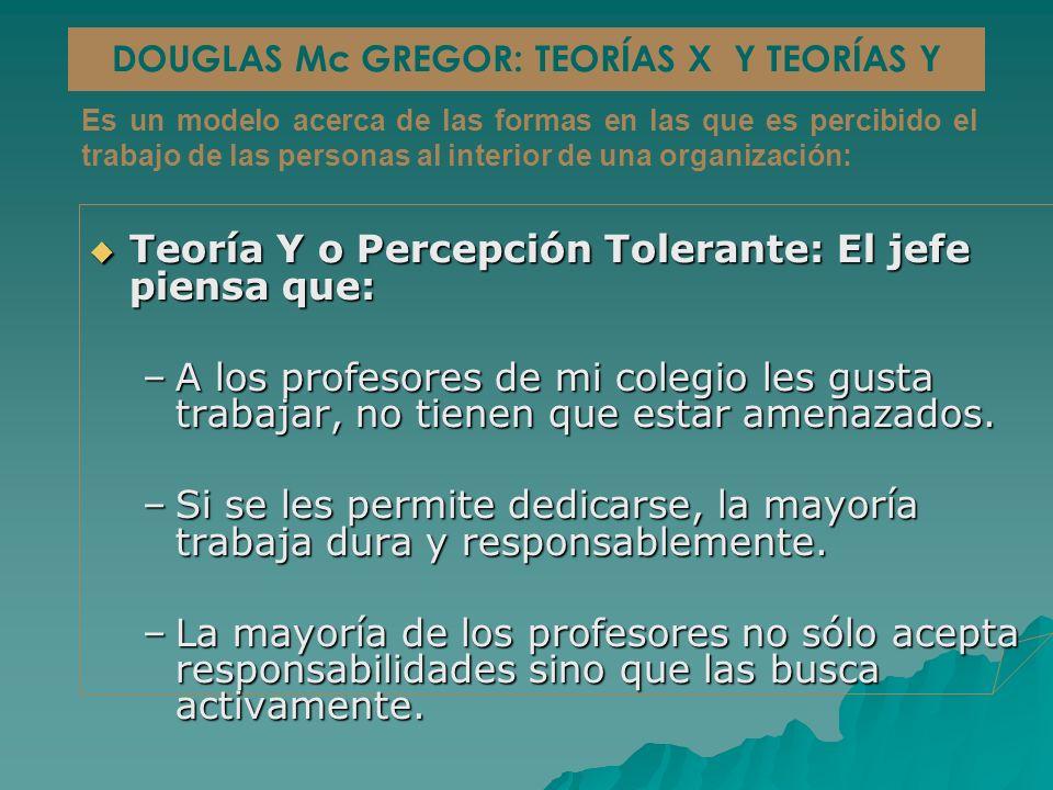 Teoría Y o Percepción Tolerante: El jefe piensa que: Teoría Y o Percepción Tolerante: El jefe piensa que: –A los profesores de mi colegio les gusta trabajar, no tienen que estar amenazados.
