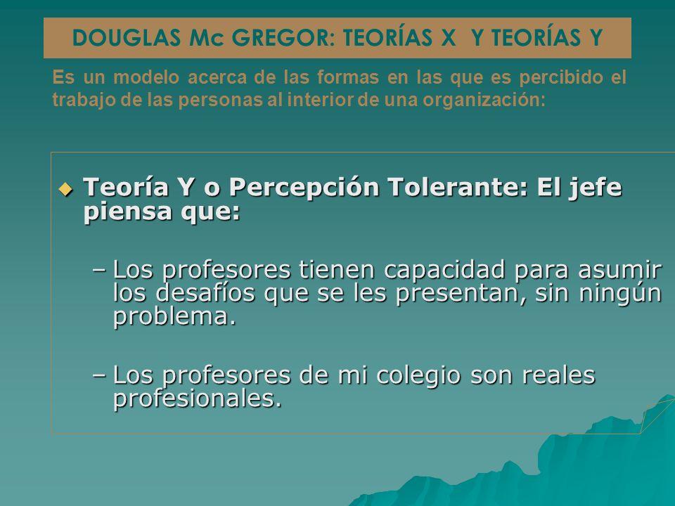 Teoría Y o Percepción Tolerante: El jefe piensa que: Teoría Y o Percepción Tolerante: El jefe piensa que: –Los profesores tienen capacidad para asumir los desafíos que se les presentan, sin ningún problema.