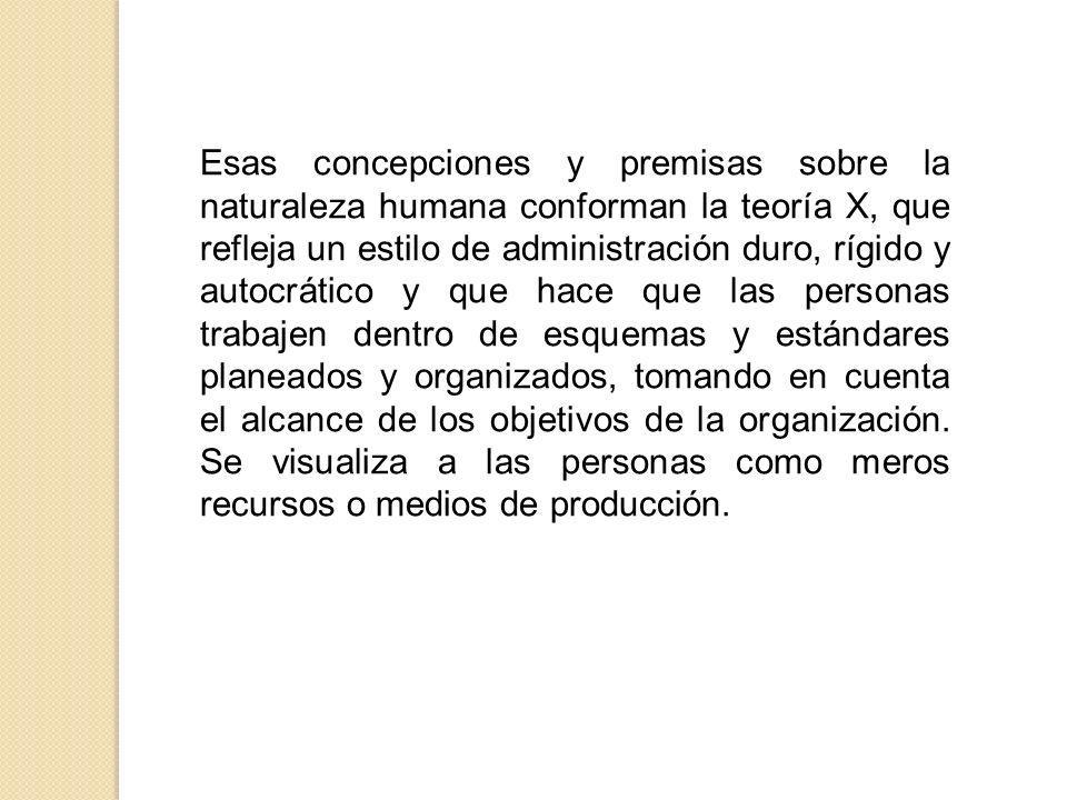 Para la teoría X se caracteriza por los siguientes aspectos: La administración debe promover la organización de los recursos de la empresa.