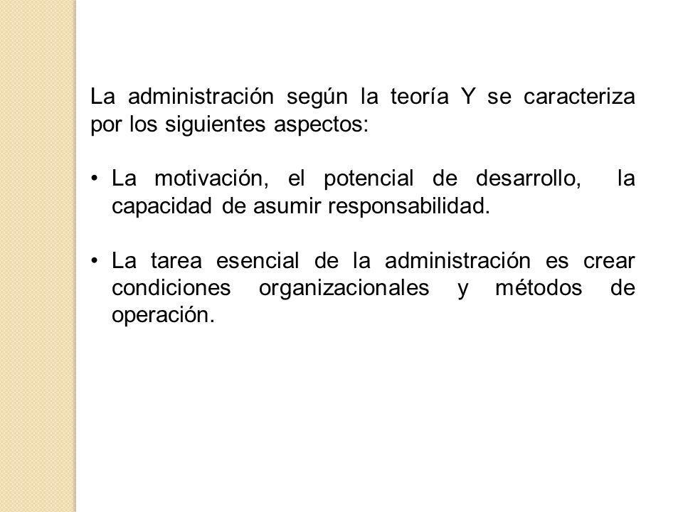 La administración según la teoría Y se caracteriza por los siguientes aspectos: La motivación, el potencial de desarrollo, la capacidad de asumir resp