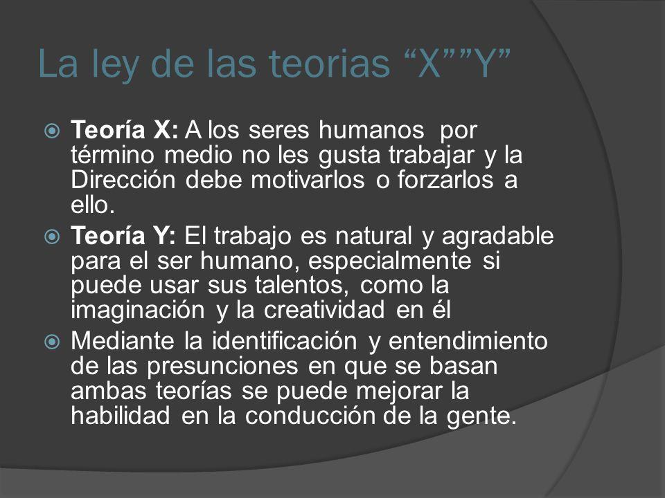La ley de las teorias XY Teoría X: A los seres humanos por término medio no les gusta trabajar y la Dirección debe motivarlos o forzarlos a ello.